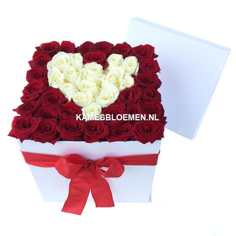 flower box hoog wit wit hart met prachtige rozen kames. Black Bedroom Furniture Sets. Home Design Ideas