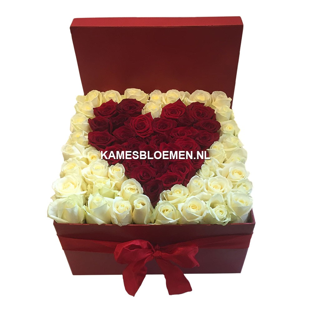 flower box rood met rode hart van rozen kames bloemen. Black Bedroom Furniture Sets. Home Design Ideas