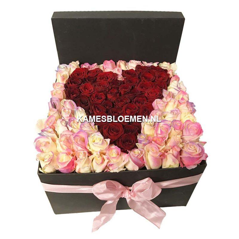 flower box zwart met gekleurde disco rozen rood hart van. Black Bedroom Furniture Sets. Home Design Ideas