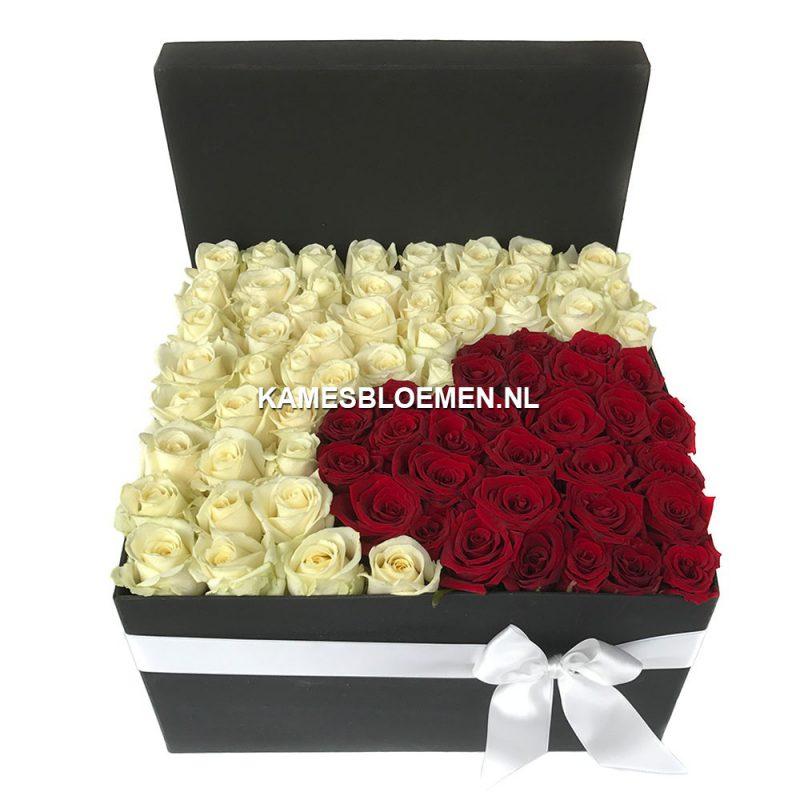 flower box zwart witte rozen minihart rood kames bloemen. Black Bedroom Furniture Sets. Home Design Ideas