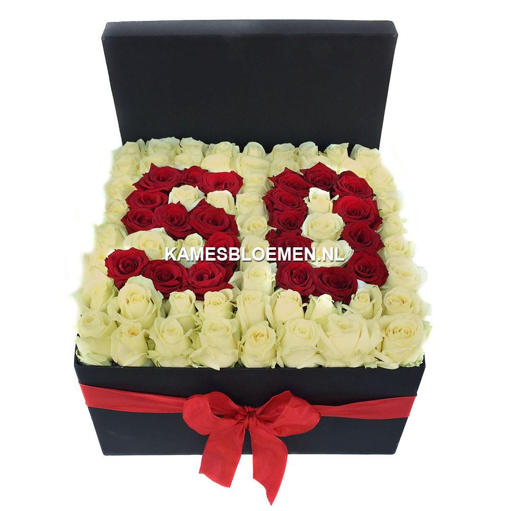 flower cijfer box zwart witte rozen kames bloemen. Black Bedroom Furniture Sets. Home Design Ideas